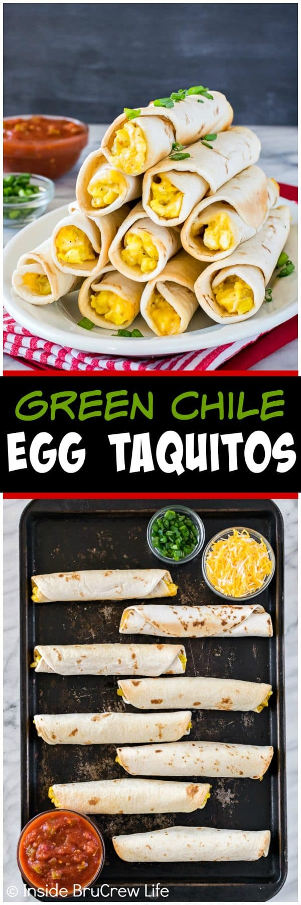 Green Chile Egg Taquitos - eggs, cheese, and green chiles rolled in a tortilla makes a great breakfast recipe that the whole family will enjoy.