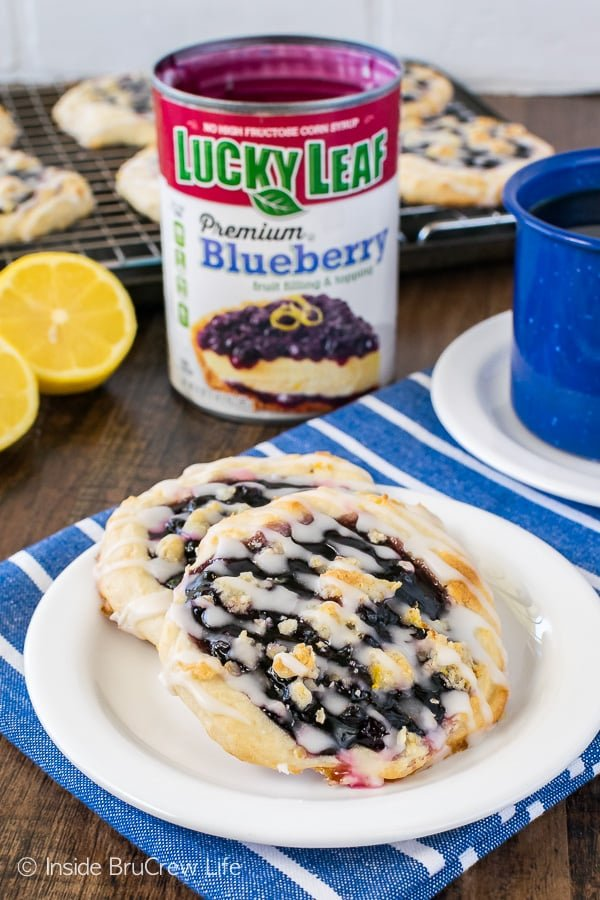 Homemade Blueberry Lemon Danish - blueberry pie filling and lemon crumbles adds a fun flavor to these easy treats. Easy recipe to make for breakfast or brunch.