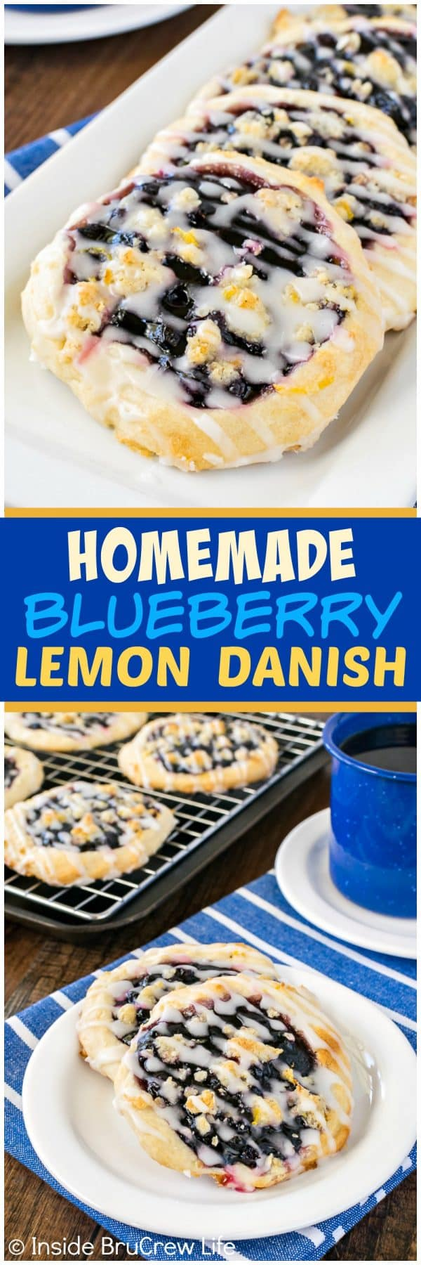 Homemade Blueberry Lemon Danish - a lemon crumble and glaze adds a fresh twist to these easy blueberry pie pastries. Such an easy recipe to make for breakfast or brunch!