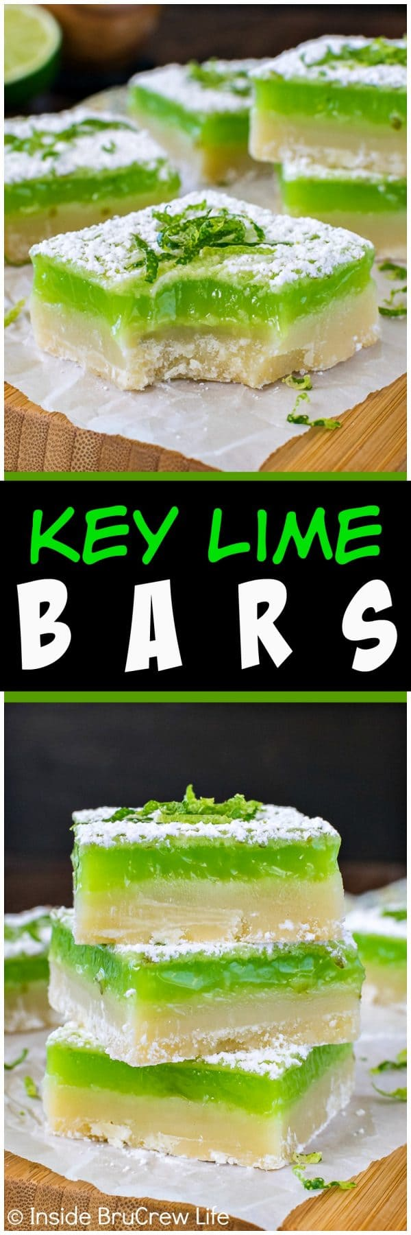 Key Lime Bars - a sweet cookie crust topped with a bright green tart key lime filling makes a great summer dessert. Easy recipe for picnics and parties!