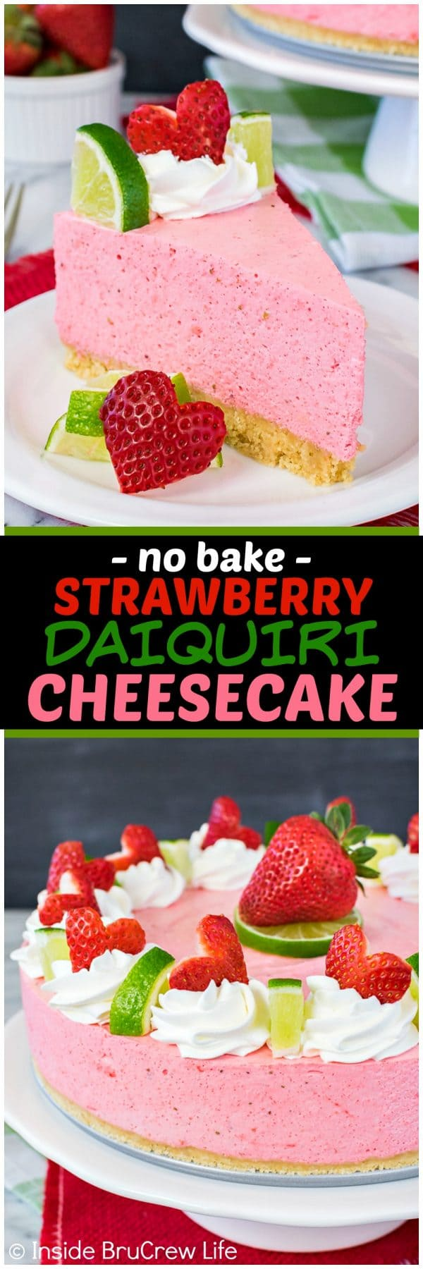 No Bake Strawberry Daiquiri Cheesecake - this light and fluffy mousse cake is full of strawberry and lime flavor! Easy no bake dessert recipe for hot summer days!