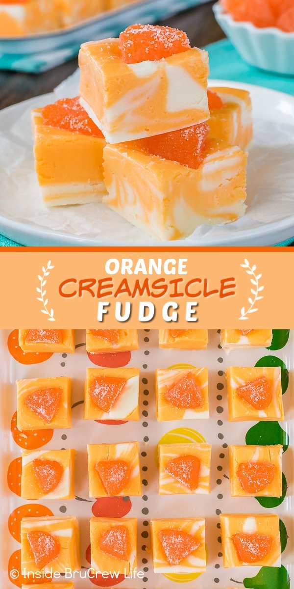 Two pictures of orange creamsicle fudge collaged together with an orange text box