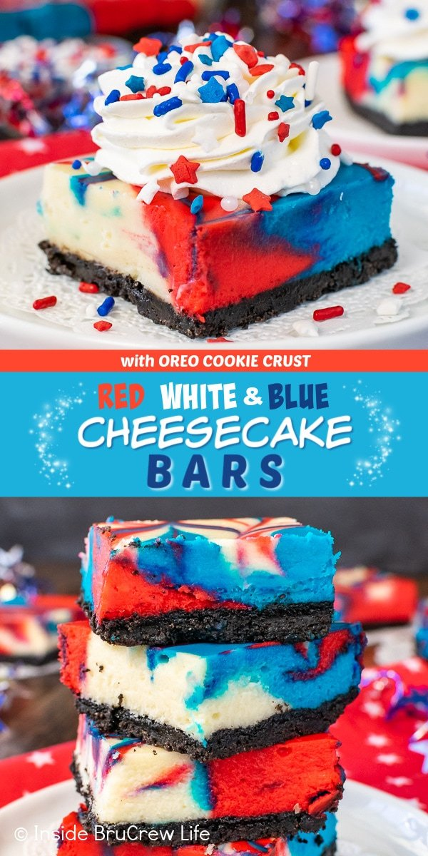 Two pictures of red white and blue cheesecake bars collaged together with a blue text box