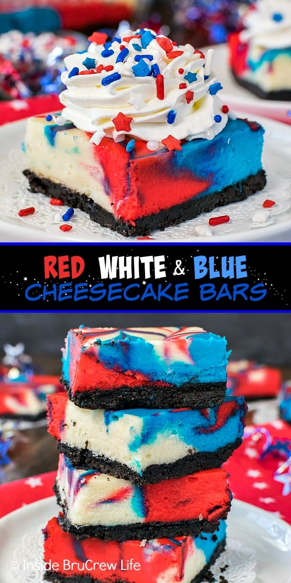 Two pictures of red white and blue cheesecake bars collaged together with a black text box