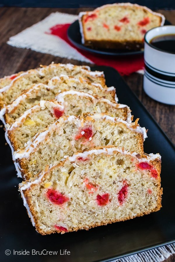 Tropical Banana Bread - this sweet bread is loaded with pineapple, cherries, and coconut. Great breakfast recipe!