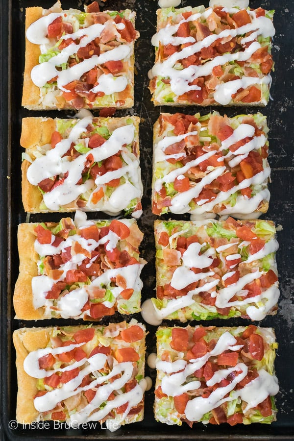 Chicken BLT Ranch Pizza - your favorite summer sandwich in a cold pizza makes a delicious dinner or appetizer!