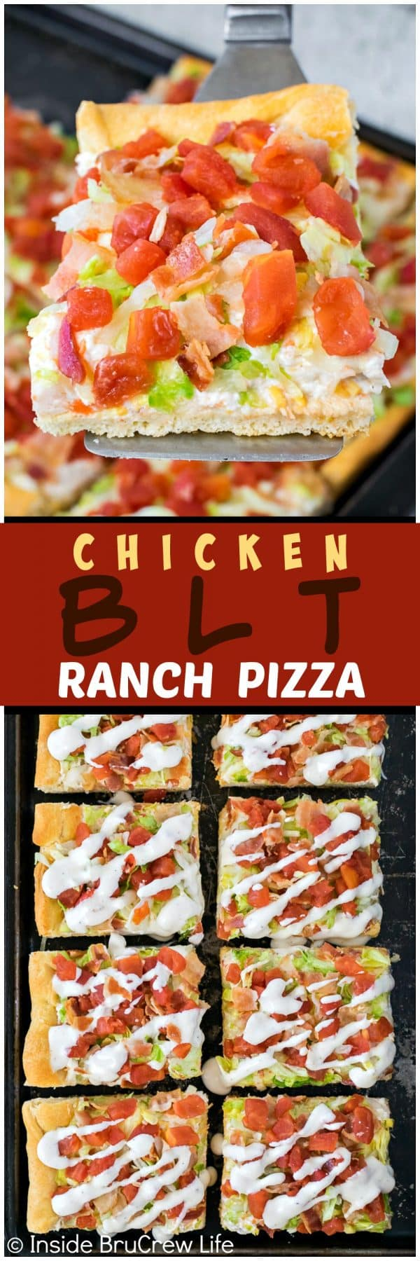 Chicken BLT Ranch Pizza - this easy cold pizza is loaded with lots of tomatoes, bacon, and lettuce. Great recipe for summer picnics or dinners!