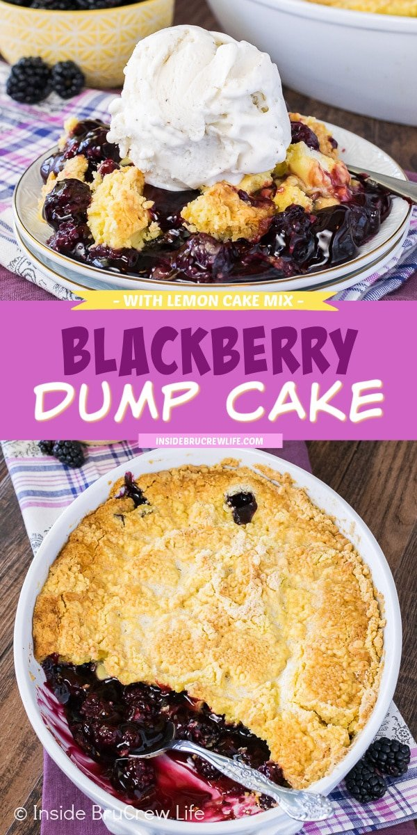 Two pictures of Blackberry Dump Cake collaged together with a purple text box