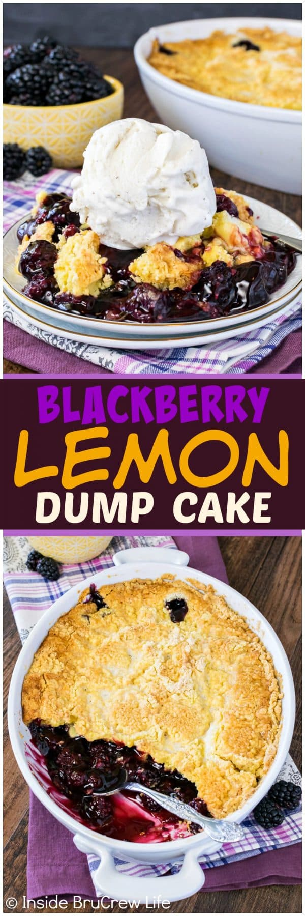 Blackberry Lemon Dump Cake - a crispy lemon topping with gooey blackberry pie filling makes an awesome summer dessert recipe. It's so good with vanilla ice cream!