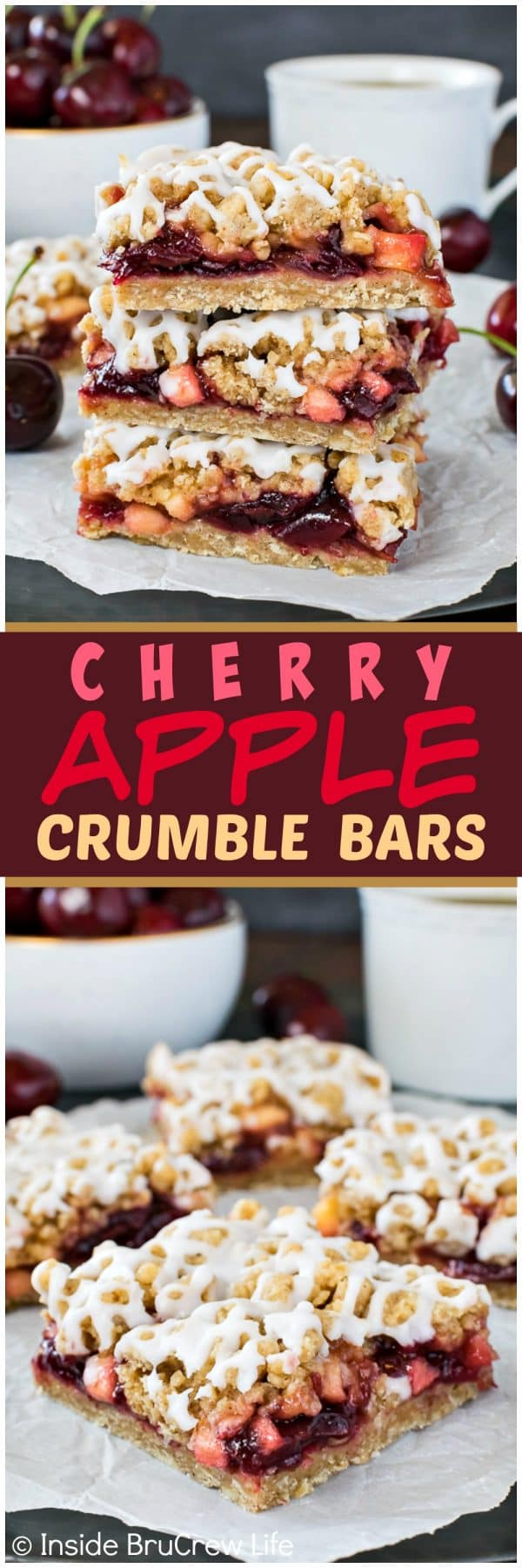 Cherry Apple Crumble Bars - sweet cherry preserves mixed with apples give these easy bars a sweet flavor! Great summer recipe to try warm with ice cream!!!!