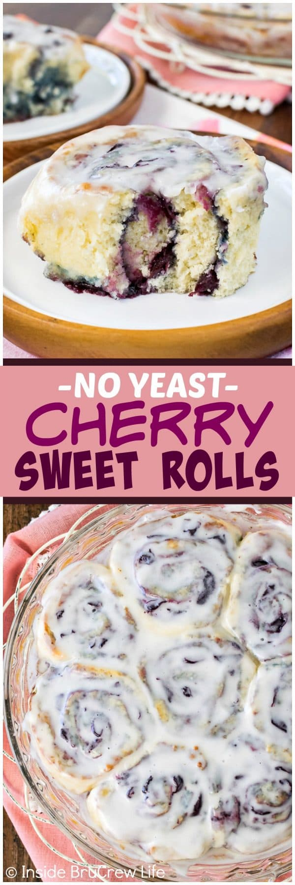 Cherry Sweet Rolls - this no yeast dough is filled with homemade cherry preserves and drizzled with almond glaze. Awesome and easy breakfast recipe for summer mornings!