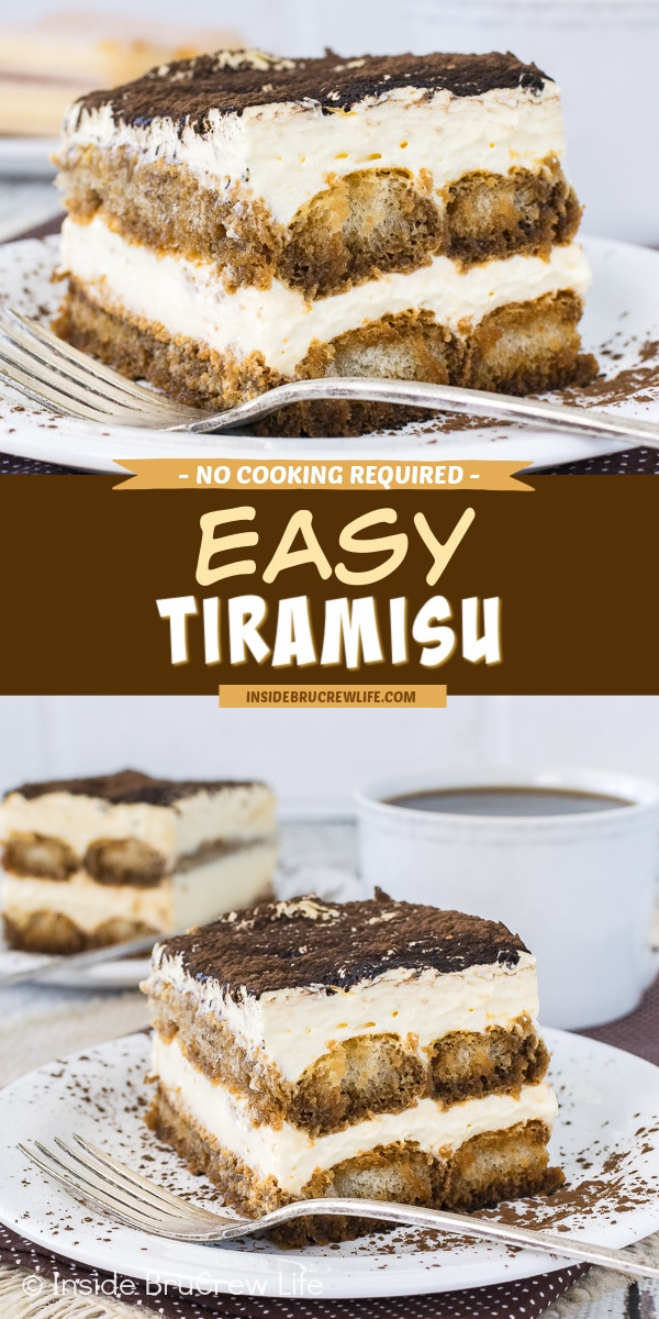 Two pictures of Easy Tiramisu collaged with a brown text box