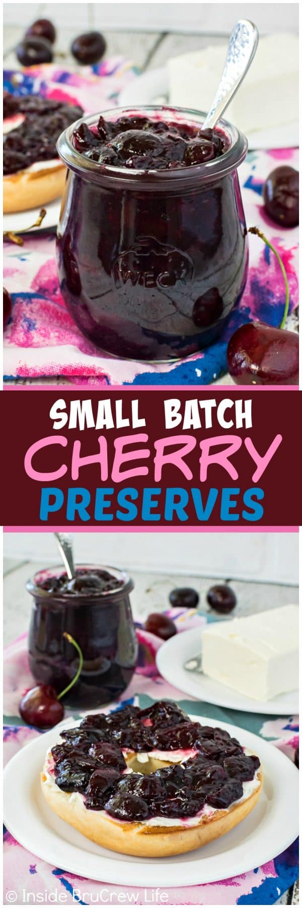 Small Batch Cherry Preserves - simmer down fresh berries and honey to make a jar of delicious preserves. This easy homemade recipe is perfect for eating on bagels or toast!