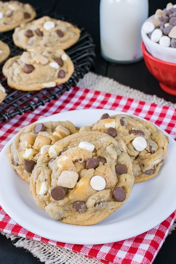 Biscoff S'mores Pudding Cookies - chocolate, marshmallow, and graham chunks make these soft chewy cookies taste out of this world. Great recipe to fill your cookie jar with!