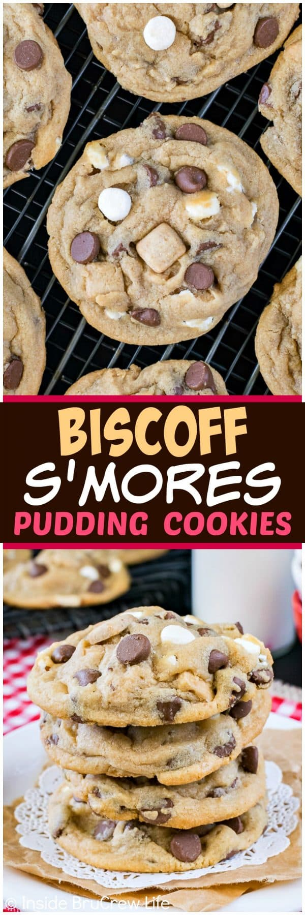 Biscoff S'mores Pudding Cookies - these soft and chewy cookies are loaded with lots of graham chunks, chocolate, and marshmallow pieces. Great recipe for lunch boxes or after school snacks!