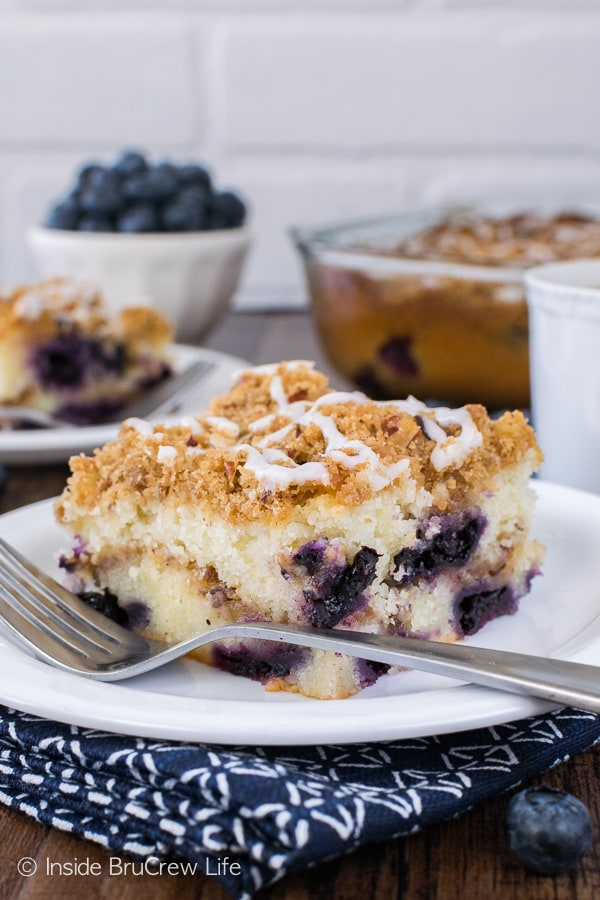 Blueberry Pecan Coffee Cake - cinnamon sugar in the middle and on top makes this easy sweet cake so good! Great breakfast recipe loaded with fresh berries!