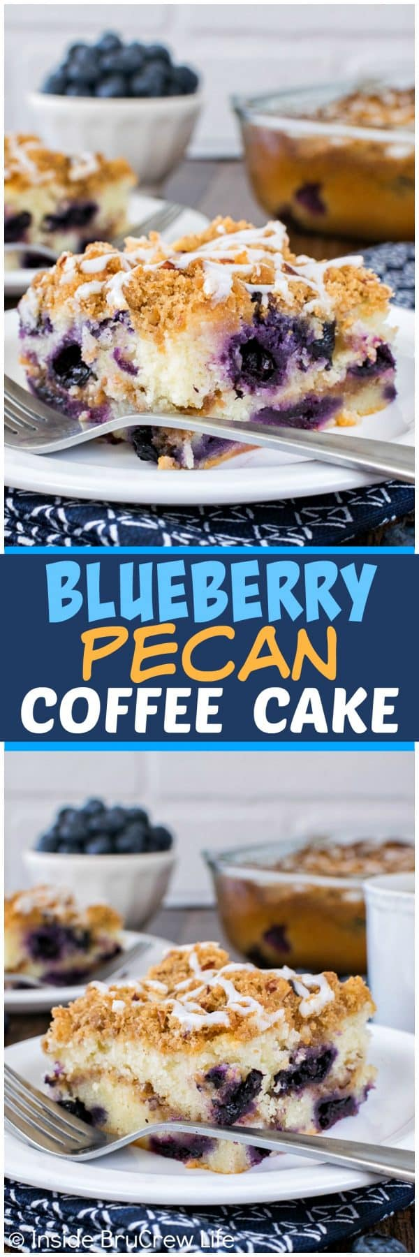 Blueberry Pecan Coffee Cake - this easy sweet cake is loaded with fresh berries and cinnamon sugar! Awesome recipe for breakfast or brunch!