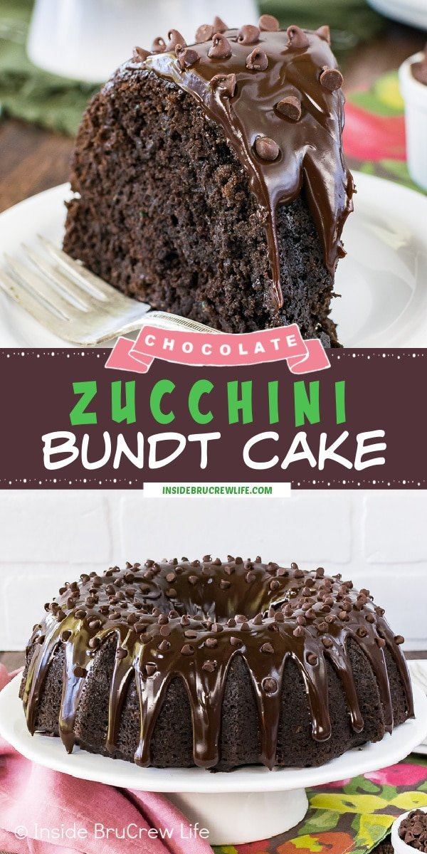 Two pictures of Chocolate Zucchini Bundt Cake collaged together with a brown text box.