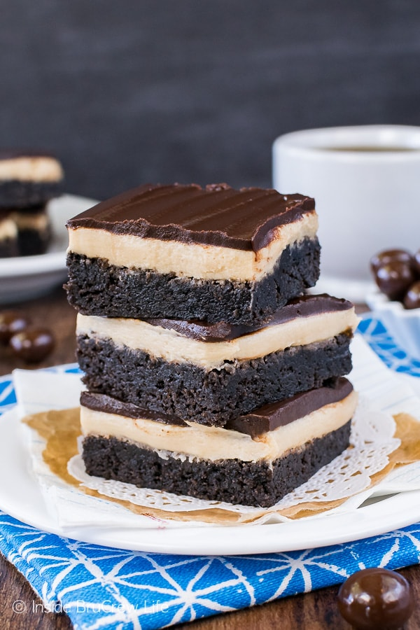 Coffee Cream Brownies - these homemade brownies get a caffeine boost from the coffee frosting and dark chocolate topping. Easy dessert recipe!