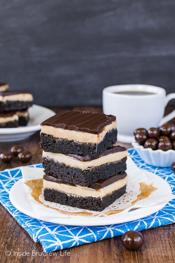 Coffee Cream Brownies - dark chocolate and coffee frosting makes these homemade brownies the perfect desert recipe for the coffee lover in your life.