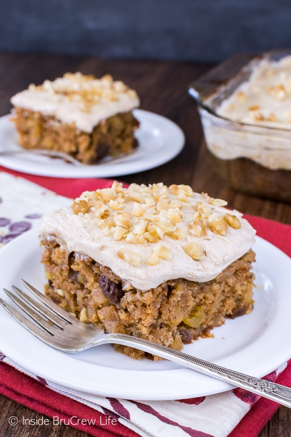 Maple Apple Walnut Cake - lots of nuts and fruits make this easy homemade cake the perfect fall recipe. It's a great cake for any fall party or event!