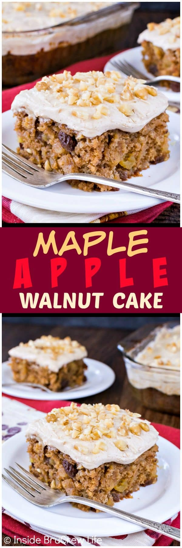 Maple Apple Walnut Cake - adding lots of fruit and nuts to this easy homemade cake makes it the perfect fall recipe for any dinner or party!