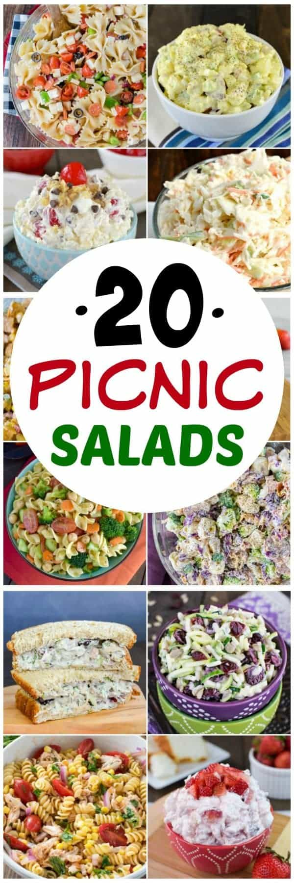 20 Picnic Salads - any of these sweet and savory salads are perfect for any picnics or parties this summer. Great recipes to share with friends!