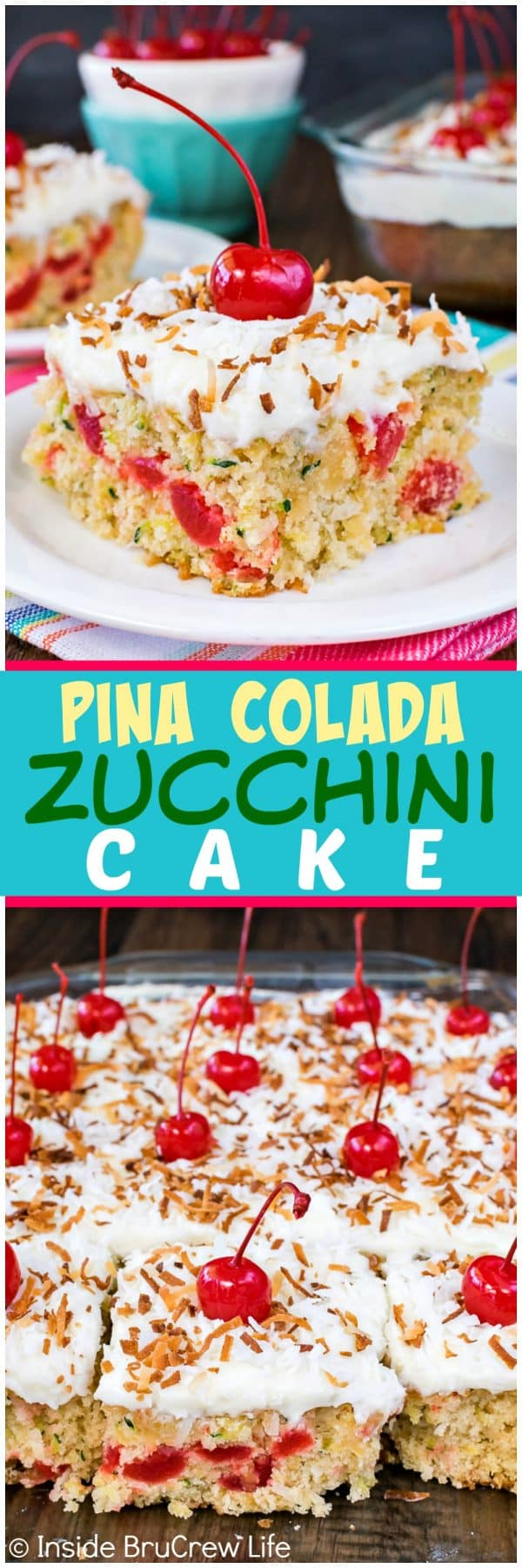 Pina Colada Zucchini Cake - this homemade soft zucchini cake is loaded with coconut and pineapple. This is a great summer dessert recipe!