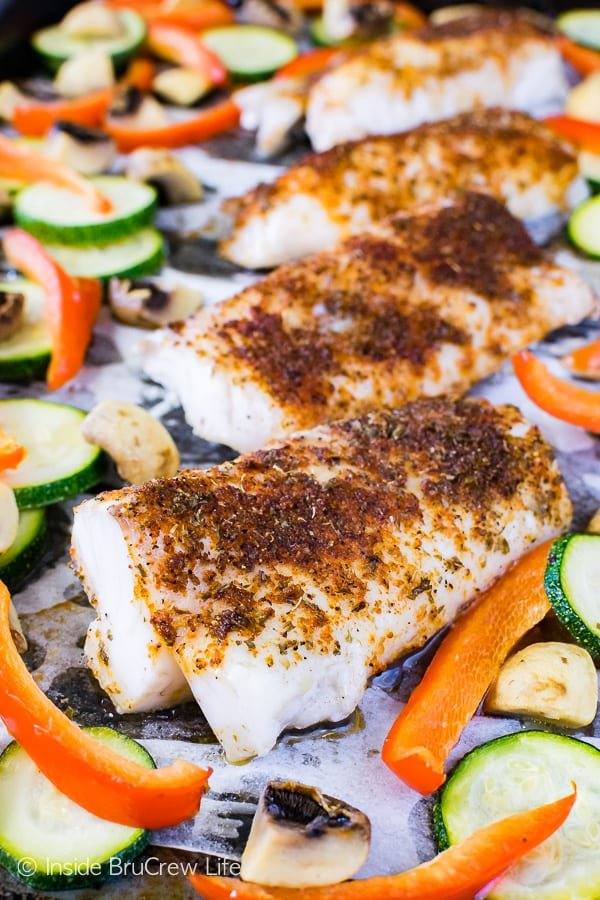 Sheet Pan Chili Lime Cod - a spicy chili rub adds so much flavor to this easy meal. Great lean and green recipe that can be on your table in under 30 minutes.
