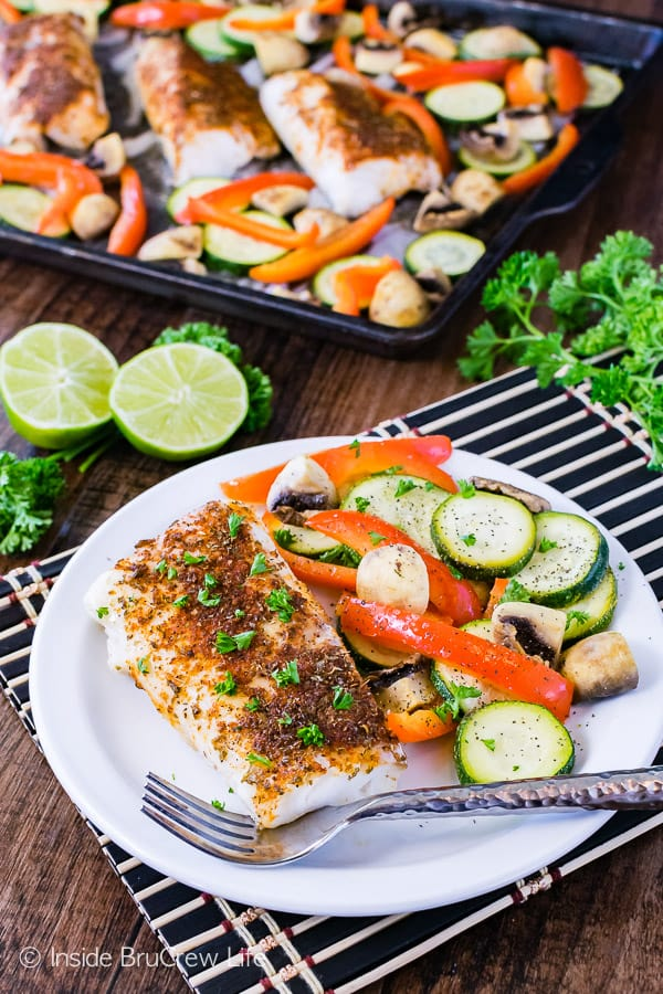 Sheet Pan Chili Lime Cod - roasted veggies and spicy chili cod fillets make an awesome lean and green dinner recipe. Perfect 30 minute meal!