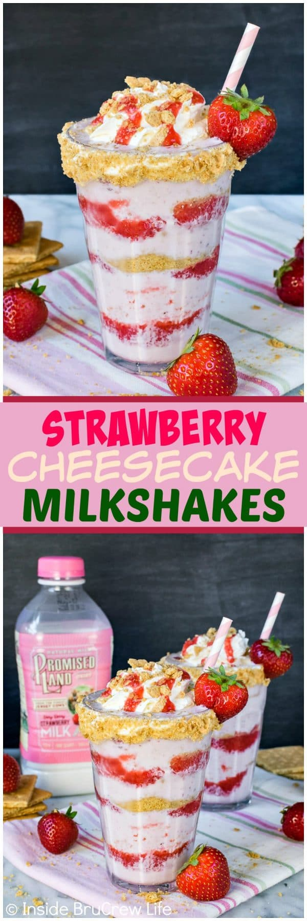 Strawberry Cheesecake Milkshakes - the layers of strawberry sauce, milkshake, and graham cracker crumbs makes this one amazing frozen drink. Easy recipe for a hot summer day!