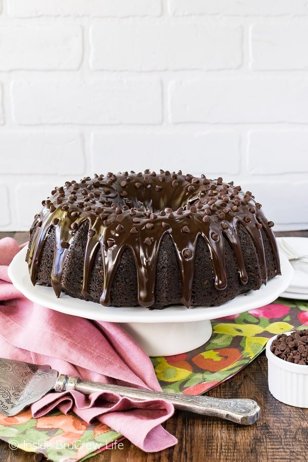 Ultimate Chocolate Zucchini Bundt Cake - a thick chocolate glaze and chocolate chips make this the best zucchini cake. Great summer dessert recipe!