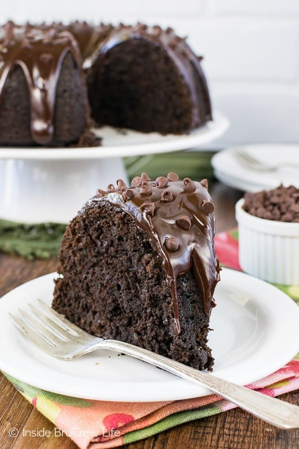 Ultimate Chocolate Zucchini Bundt Cake - three kinds of chocolate make this the best zucchini cake. Great summer recipe to use up those veggies!