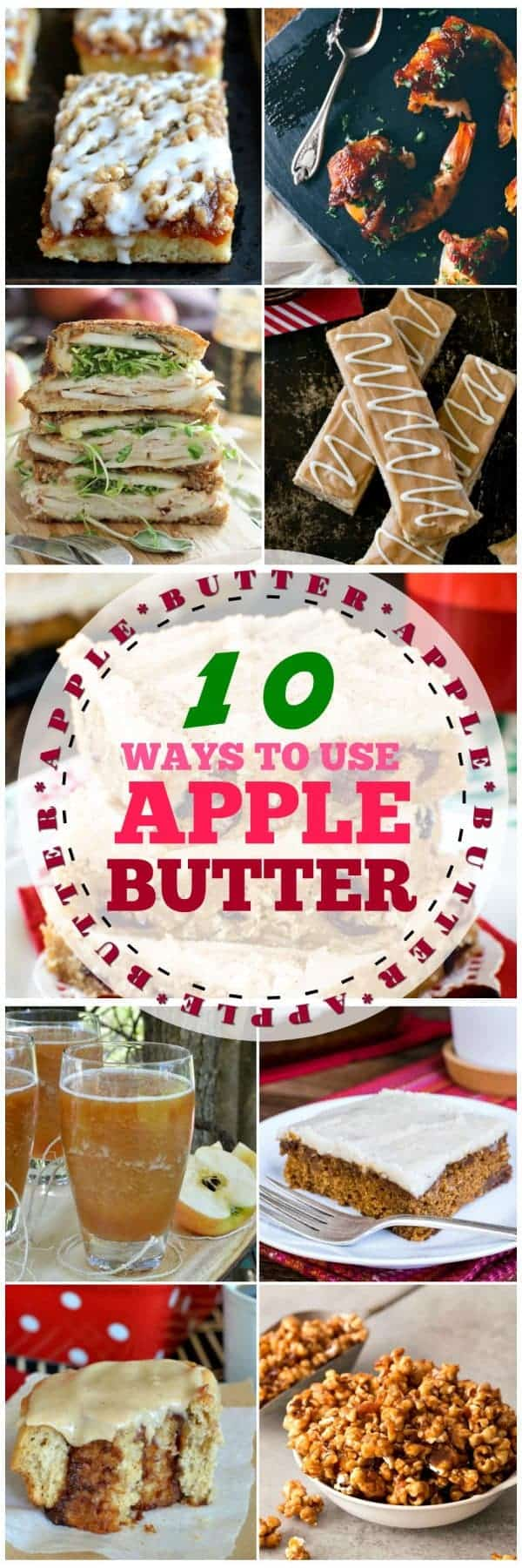 A collage of photos showing how to use apple butter