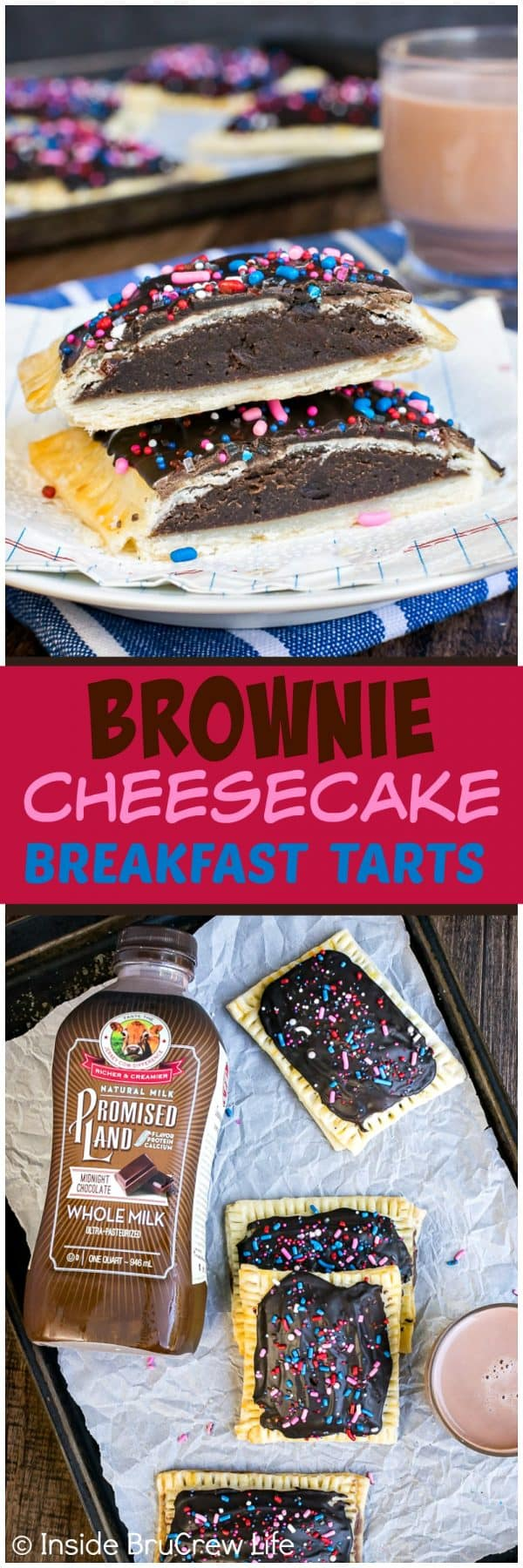 Brownie Cheesecake Breakfast Tarts - chocolate frosting and a soft brownie center makes these tarts a fun way to start the day. Easy breakfast recipe for busy mornings!