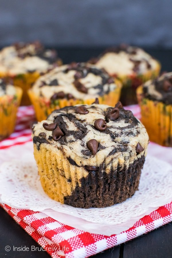 Chocolate Banana Marble Muffins - these sweet breakfast muffins have swirls of chocolate and banana in each bite. Great recipe for busy mornings!
