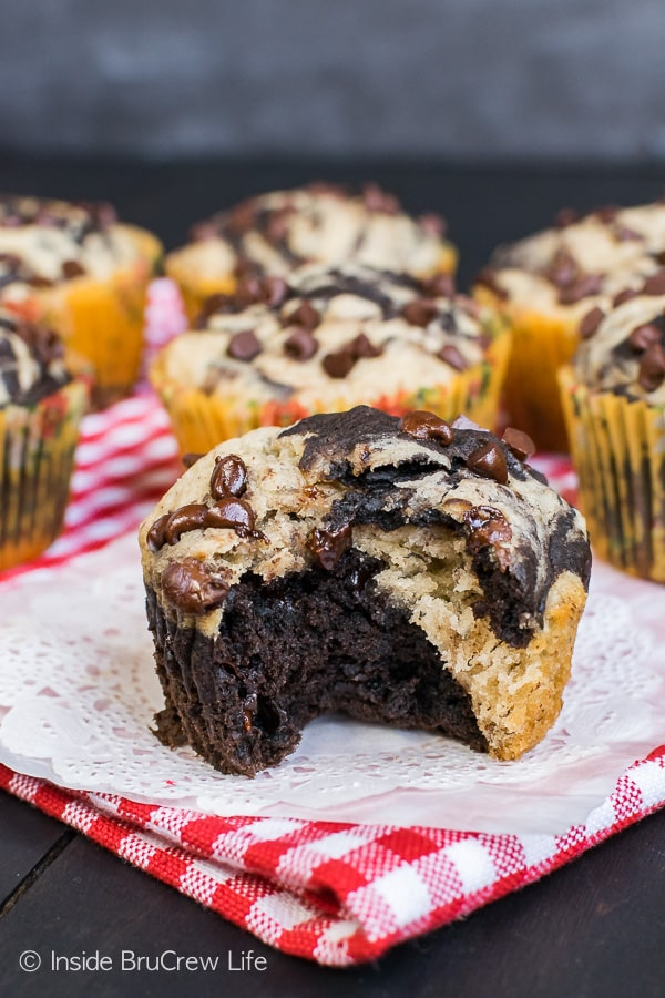Chocolate Banana Marble Muffins - swirls of chocolate and banana using half the amount of sugar makes an incredible breakfast recipe to enjoy on busy mornings!