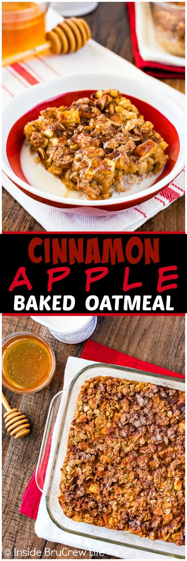 Cinnamon Apple Baked Oatmeal - this easy oatmeal breakfast is loaded with fruit and nuts. Great recipe to make ahead of time for busy fall mornings.