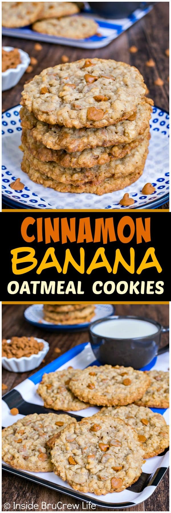 Cinnamon Banana Oatmeal Cookies - these chewy flat cookies have a crispy edge that makes them taste so good. Great recipe to fill your cookie jar with for an after school snack.