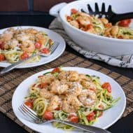 Low Carb Parmesan Garlic Shrimp Zucchini Noodles Recipe