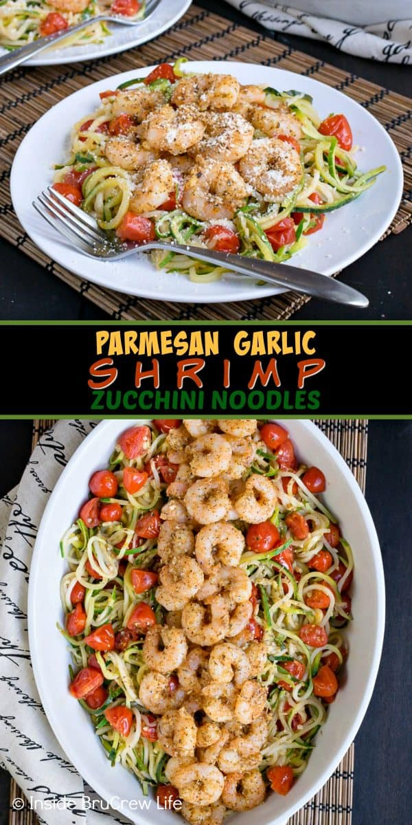 Parmesan Garlic Shrimp Zucchini Noodles - this easy dinner is loaded with zucchini noodles, tomatoes, and baked shrimp. Great lean and green option when you are eating healthy. #leanandgreen #healthy #shrimp #zucchini #30minutemeal