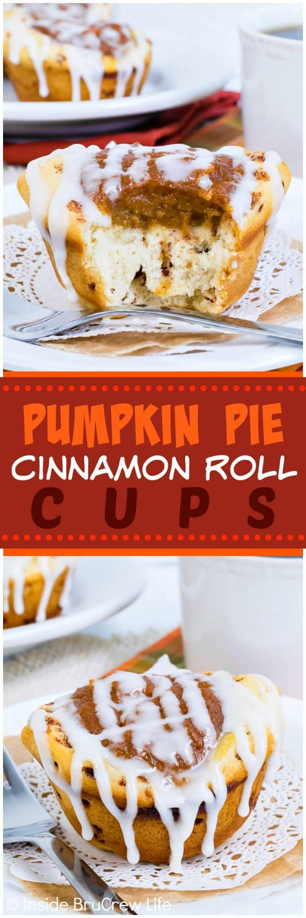 Pumpkin Pie Cinnamon Roll Cups - a sweet pumpkin pie center makes these little cinnamon rolls the perfect breakfast treat. Easy recipe for fall.
