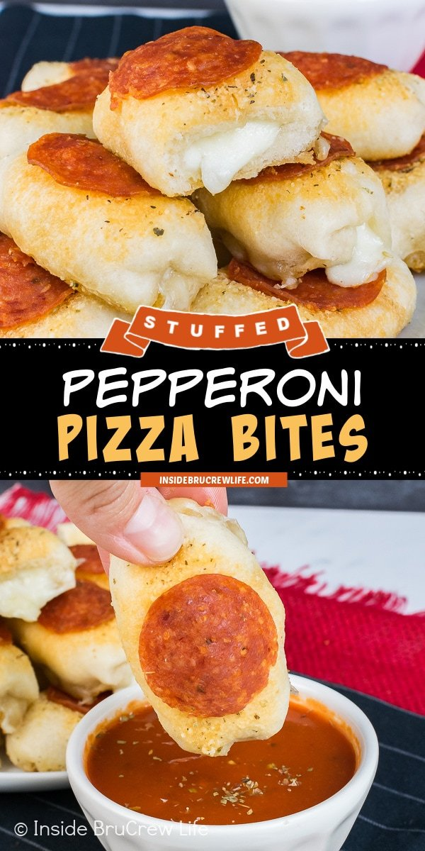 Two pictures of Pepperoni Pizza Bites collaged together with a black text box.