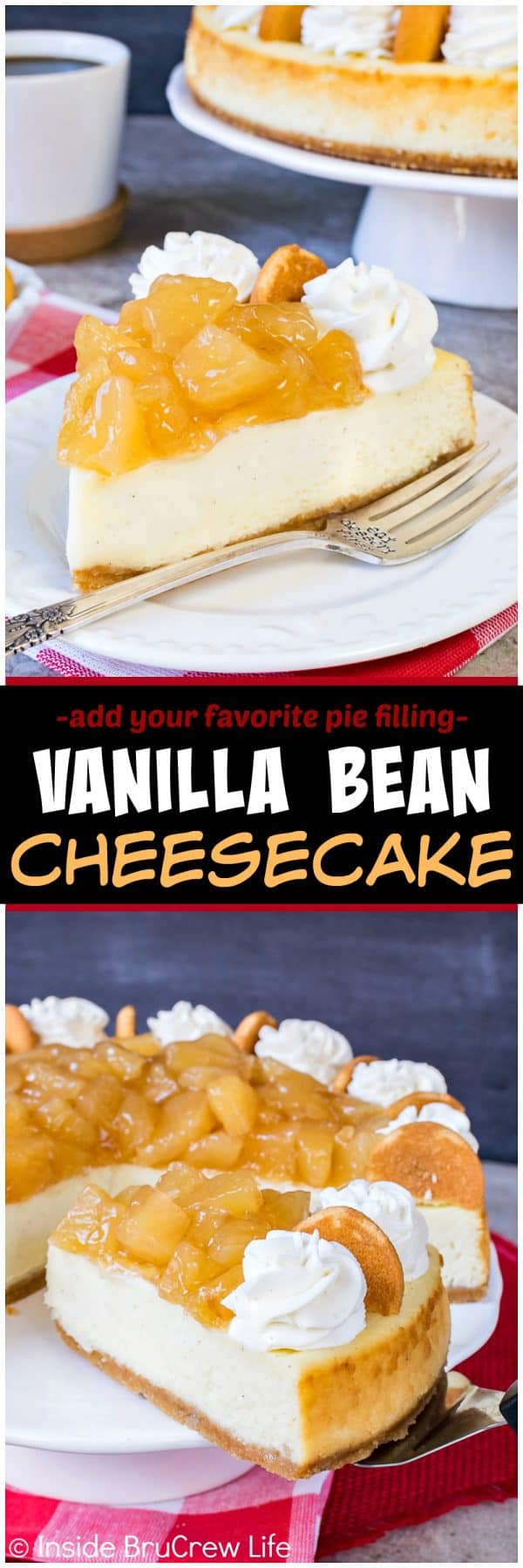 Vanilla Bean Cheesecake - this easy creamy cheesecake is loaded with vanilla flavor. Top it with your favorite pie filling and homemade vanilla bean whipped topping. Great recipe for dinner parties!