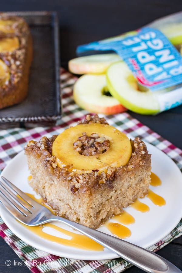 Apple Pecan Upside Down Cake - apple rings and and a caramel nut topping baked into the bottom of this cake makes it a delicious recipe for fall.
