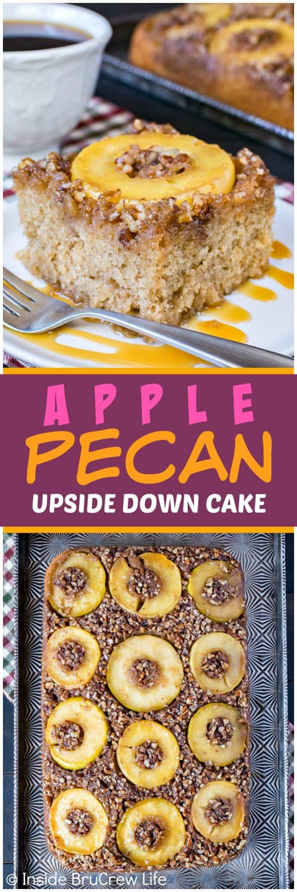 Apple Pecan Upside Down Cake - a layer of apple rings, caramel, and nuts baked into the bottom of this cake makes it so pretty. Easy recipe for fall parties or the holidays.