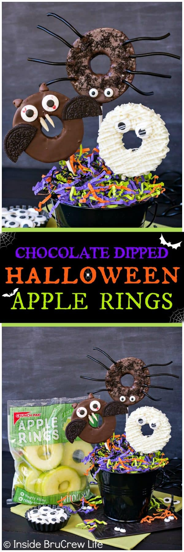 Chocolate Dipped Halloween Apple Rings - candy eyes and cookies add a fun twist to these easy chocolate covered apples. Easy no bake recipe for Halloween parties!