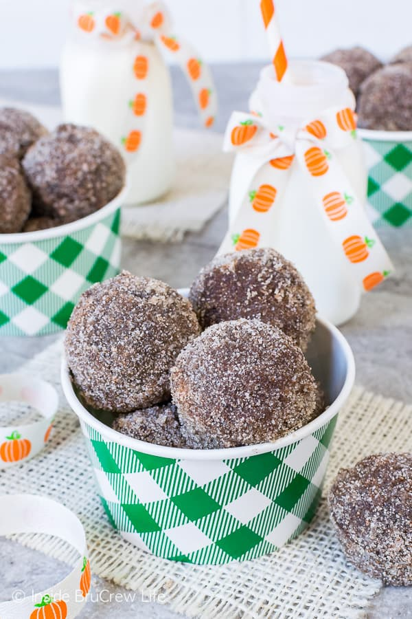 Chocolate Pumpkin Spice Donut Holes - soft fluffy donuts with a crunchy sugar coating. Best fall breakfast recipe!