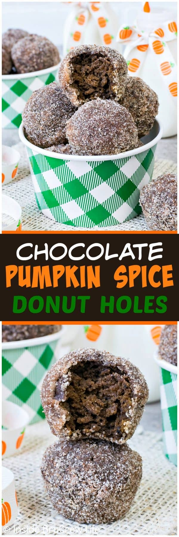 Chocolate Pumpkin Spice Donut Holes - little soft donut holes coated in a crunchy sugar coating makes an awesome breakfast treat. This is a must make recipe for fall!