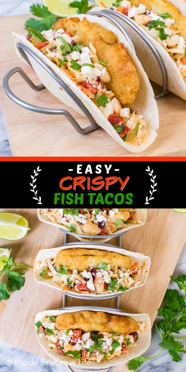 Two pictures of crispy fish tacos collaged together with a black text box
